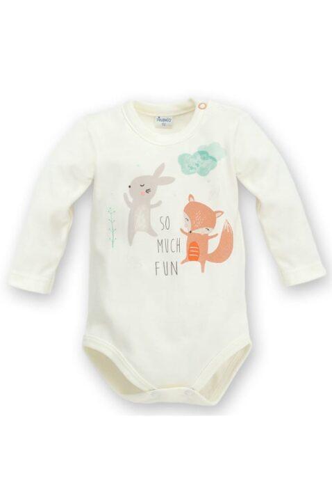 cru weißer Baby Body langarm mit Fuchs & Häschen - Jungen & Mädchen Langarmbody Babybody von Pinokio - Vorderansicht