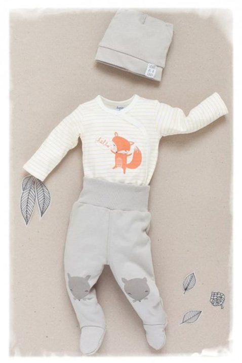 Ecru weiß orange gestreifter Baby Wickelbody langarm mit Fuchs - Jungen & Mädchen Langarmbody Babybody unisex von Pinokio - Inspiration Lookbook