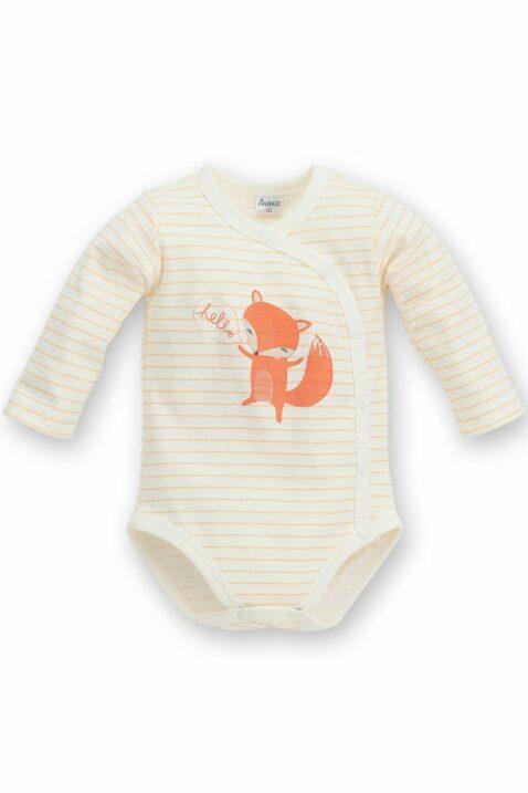 Ecru weiß orange gestreifter Baby Wickelbody langarm mit Fuchs - Jungen & Mädchen Langarmbody Babybody unisex von Pinokio - Vorderansicht