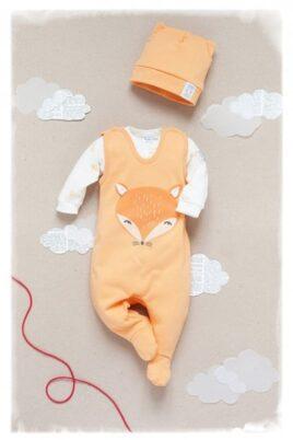 Orangener Baby Strampler mit Fuß & Fuchs Motiv - Jungen Mädchen Strampelanzug & Tier Babystrampler unisex von Pinokio - Inspiration Lookbook