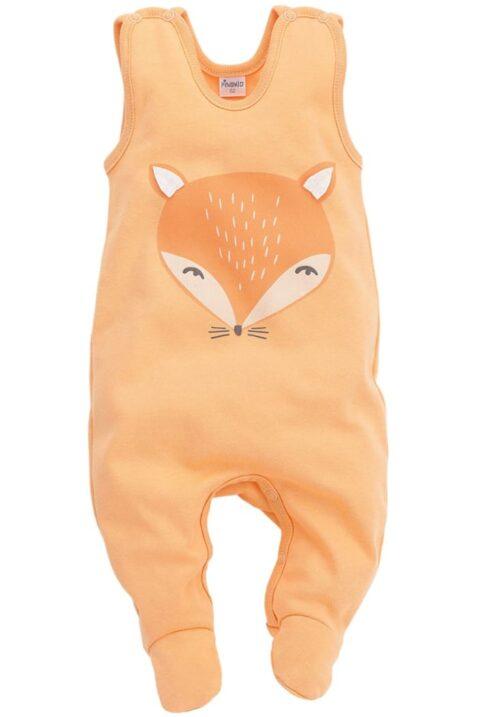 Orangener Baby Strampler mit Fuß & Fuchs Motiv - Jungen Mädchen Strampelanzug & Tier Babystrampler unisex von Pinokio - Vorderansicht