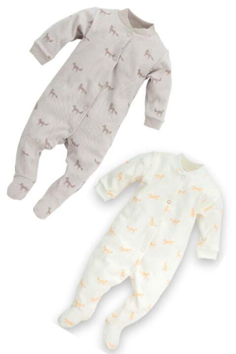 Set weißer & beiger Baby Schlafoverall mit Füßen & Füchsen für Jungen & Mädchen - Einteiliger Schlafanzug & Strampelanzug Tier Overall unisex von Pinokio - Set Inspiration