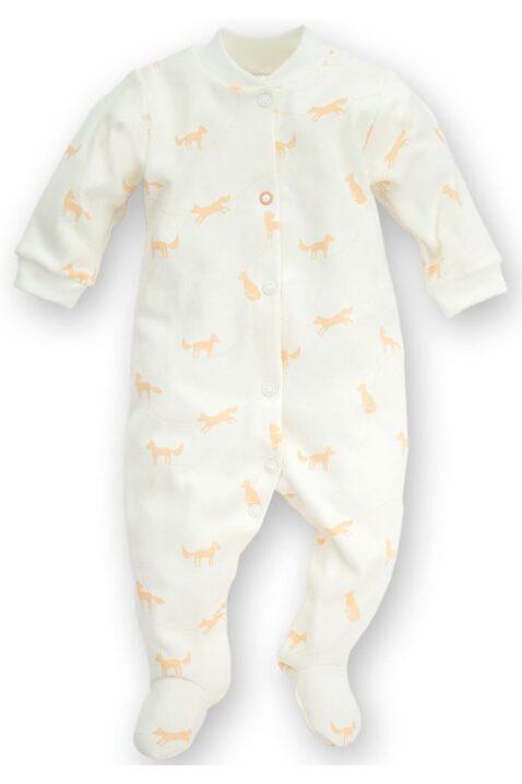 Weißer Baby Schlafoverall mit Füßen & Füchsen für Jungen & Mädchen - Schlafanzug & Strampelanzug Tier Overall einteilig unisex von Pinokio - Vorderansicht
