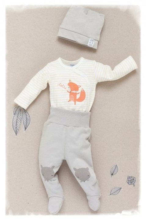 Beige Baby Strampelhose mit Füßen & Fuchs Motive - Jungen & Mädchen Schlafhose & Tier Babyhose Strampler unisex von Pinokio - Inspiration Lookbook