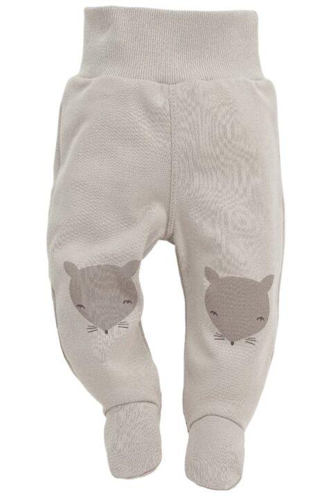 Beige Baby Strampelhose mit Füßen & Fuchs Motive - Jungen & Mädchen Schlafhose & Tier Babyhose Strampler unisex von Pinokio - Vorderansicht