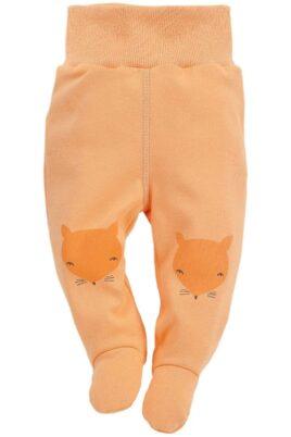 Orangene Baby Strampelhose mit Füßen & Fuchs Motive - Jungen & Mädchen Schlafhose & Tier Babyhose Strampler unisex von Pinokio - Vorderansicht