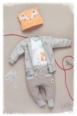 Beige Baby Sweatjacke mit Fuchs Motiven & Reißverschluss - Jungen & Mädchen Tier Pullover Sweatshirt Oberteil unisex von Pinokio - Inspiration Lookbook
