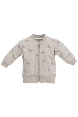 Pinokio beige Baby Sweatjacke mit Fuchs Motiven & Reißverschluss – Jungen & Mädchen Tier Pullover Sweatshirt Oberteil unisex – Vorderansicht