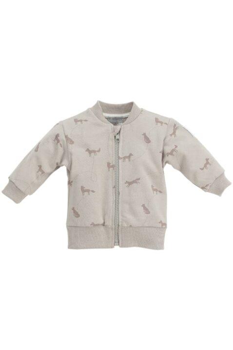 Beige Baby Sweatjacke mit Fuchs Motiven & Reißverschluss - Jungen & Mädchen Tier Pullover Sweatshirt Oberteil unisex von Pinokio - Vorderansicht