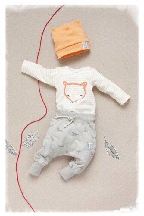Beige Baby Pumphose mit Fuchs Motiven & Kordel - Jungen & Mädchen Tier Haremshose & Joggingshose Sweatpants unisex von Pinokio - Inspiration Lookbook