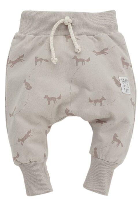 Beige Baby Pumphose mit Fuchs Motiven & Kordel - Jungen & Mädchen Tier Haremshose & Joggingshose Sweatpants unisex von Pinokio - Vorderansicht
