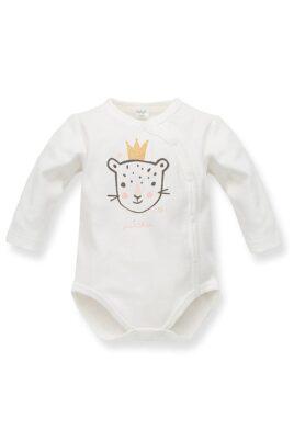 Pinokio ecru weißer Baby Wickelbody mit Leopard & Panther Krone Motiv – Mädchen Langarmbody Tierbody Babybody Druckknöpfe – Vorderansicht
