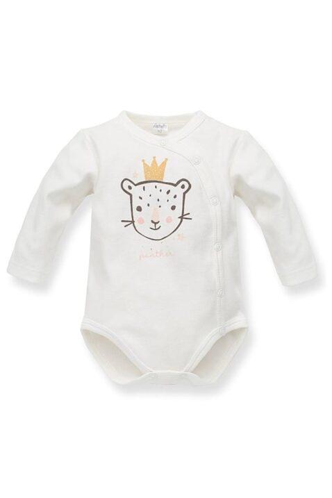 Ecru weißer Baby Wickelbody mit Leopard & Panther Krone Motiv - Mädchen Langarmbody Tierbody Babybody Druckknöpfe von Pinokio - Vorderansicht
