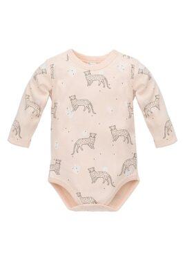 Pinokio rosa Baby Body mit Leopard & Panther Motiven – Mädchen Langarmbody Tierbody Babybody – Vorderansicht