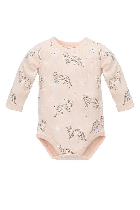 Rosa Baby Body mit Leopard & Panther Motiven - Mädchen Langarmbody Tierbody Babybody von Pinokio - Vorderansicht