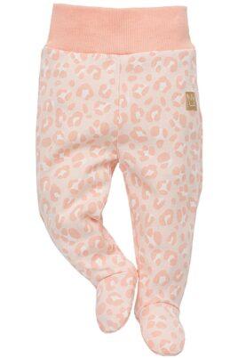 Pinokio rosa Baby Mädchen Strampelhose mit Füßen & Leoparden Muster – Schlafhose & Tier Babyhose Strampler – Vorderansicht