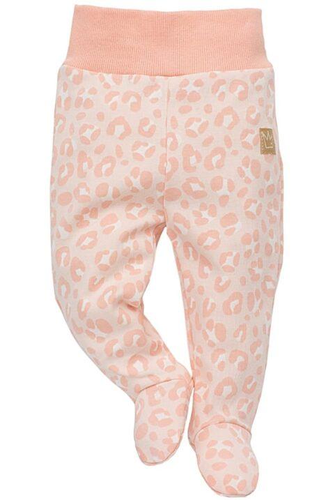 Rosa Baby Mädchen Strampelhose mit Füßen & Leoparden Muster - Schlafhose & Tier Babyhose Strampler von Pinokio - Vorderansicht