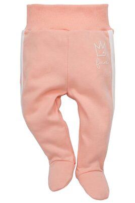 Pinokio rosa Baby Mädchen Strampelhose mit Füßen & seitlichen weißen Streifen – Schlafhose & Schlafstrampler – Vorderansicht