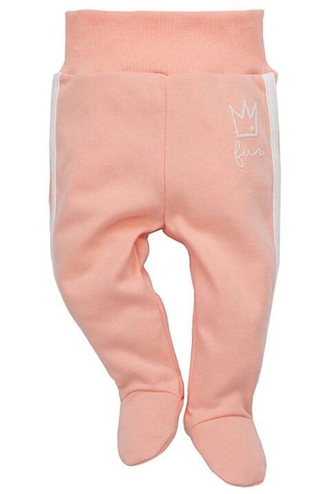 Rosa Baby Mädchen Strampelhose mit Füßen & seitlichen weißen Streifen - Schlafhose & Schlafstrampler von Pinokio - Vorderansicht