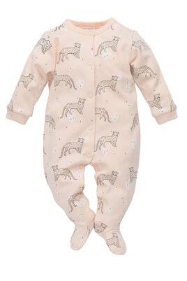 Pinokio rosa Baby Mädchen Schlafoverall mit Füßen & Leoparden – Schlafanzug & Strampelanzug Tier Overall einteilig – Vorderansicht