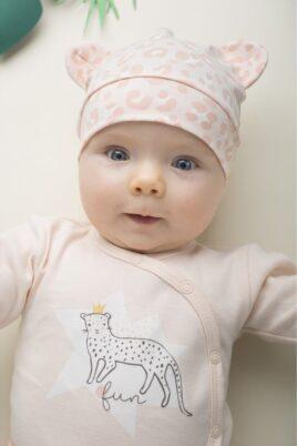 Rosa Baby Mädchen Mütze mit Ohren im Leoparden Design - Tiermütze, Babymütze & Kindermütze mit Leopardenmuster von Pinokio - Babyphoto
