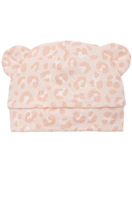 Pinokio rosa Baby Mädchen Mütze mit Ohren im Leoparden Design – Tiermütze, Babymütze & Kindermütze mit Leopardenmuster – Vorderansicht