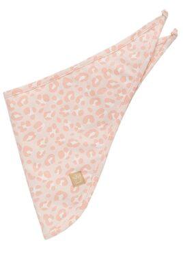 Pinokio rosa Baby Mädchen Halstuch mit Leopardenmuster – Leoparden Dreieckstuch, Tier Sabbertuch & Spucktuch – Vorderansicht