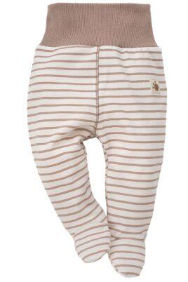 Pinokio braun weiß gestreifte Baby Jungen Strampelhose mit Füßen im Teddybär Design – Tier Schlafhose & Bären Stramplerhose – Vorderansicht