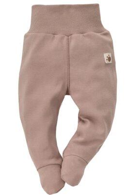 Pinokio braune Baby Jungen Strampelhose mit Füßen im Teddybär Design & Komfortbund – Tier Schlafhose & Bären Stramplerhose – Vorderansicht