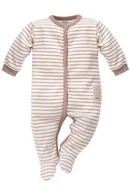Pinokio braun weiß gestreifter Baby Schlafoverall mit Füßen im Teddybär Design für Jungen – Schlafanzug & Strampelanzug Tier Overall einteilig – Vorderansicht