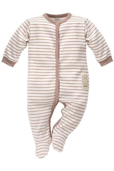 Braun weiß gestreifter Baby Schlafoverall mit Füßen im Teddybär Design für Jungen - Schlafanzug & Strampelanzug Tier Overall einteilig von Pinokio - Vorderansicht