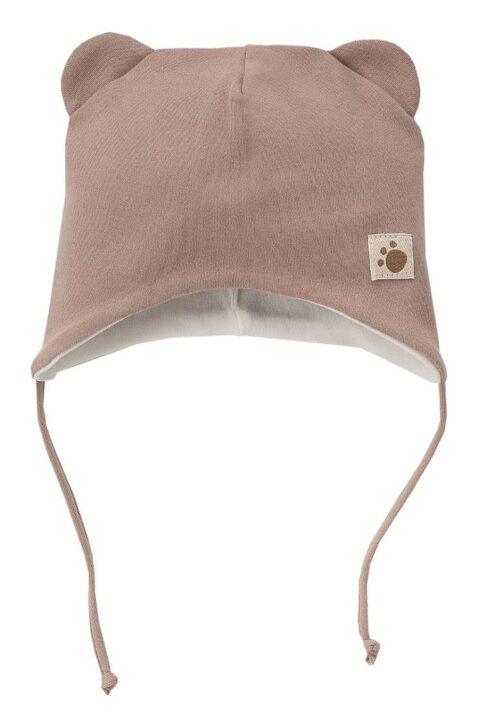 Braune Babymütze mit Ohren im Teddybär Design zum Binden für Jungen - Tier Babymütze & Kindermütze mit Patch Bärentatze von Pinokio - Vorderansicht