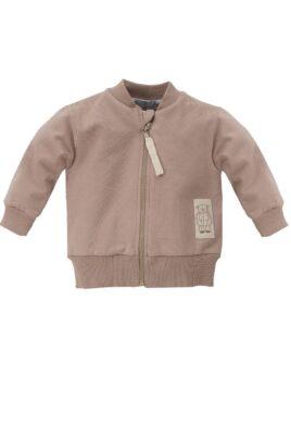 Pinokio braune Baby Sweatjacke im Teddybär Design & Reißverschluss – Jungen Tier Pullover Sweatshirt Oberteil mit Bären Patch – Vorderansicht