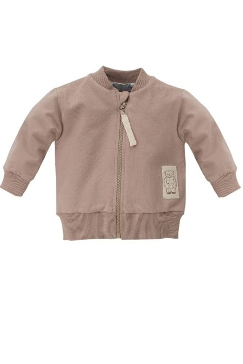 Braune Baby Sweatjacke im Teddybär Design & Reißverschluss - Jungen Tier Pullover Sweatshirt Oberteil mit Bären Patch von Pinokio - Vorderansicht