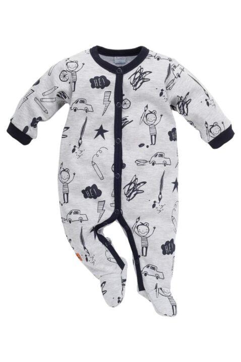Grauer Baby Schlafoverall mit Füßen & Schul Motiven für Jungen - Schlafanzug & Strampelanzug Overall einteilig mit Autos, Fahrräder, Stifte, Blitze von Pinokio - Vorderansicht