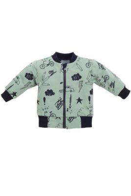Pinokio grüne Baby Sweatjacke mit Schul Motiven & Reißverschluss für Jungen – Pullover Sweatshirt Oberteil mit Autos, Fahrräder, Malstifte, Blitze – Vorderansicht