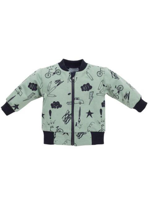 Grüne Baby Sweatjacke mit Schul Motiven & Reißverschluss für Jungen - Pullover Sweatshirt Oberteil mit Autos, Fahrräder, Malstifte, Blitze von Pinokio - Vorderansicht