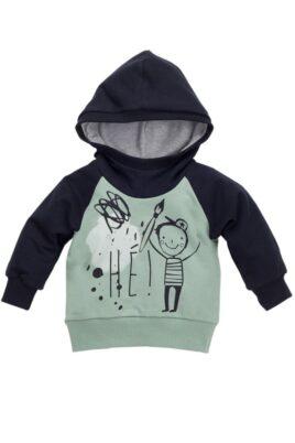 Pinokio grün schwarzer Baby Kapuzenpullover mit Schul Motiv für Jungen – Hoodie Pullover Sweatshirt langarm Oberteil mit Kapuze, Kind, Schüler, Malstift – Vorderansicht