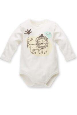 Pinokio ecru weißer Baby Body langarm mit Löwe in einer Sahara Landschaft mit Palme – Jungen Langarmbody Tierbody Babybody Druckknöpfe – Vorderansicht