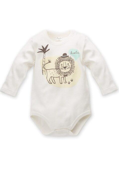 Ecru weißer Baby Body langarm mit Löwe in einer Sahara Landschaft mit Palme - Jungen Langarmbody Tierbody Babybody Druckknöpfe von Pinokio - Vorderansicht