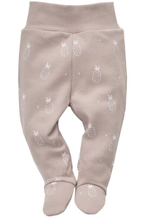 Beige Baby Strampelhose mit Füßen, Ananas Motiven & Komfortbund - Jungen & Mädchen Schlafhose & Stramplerhose von Pinokio - Vorderansicht