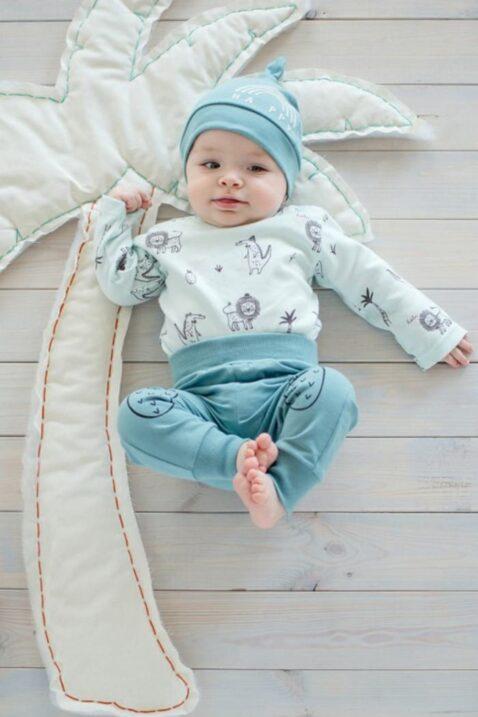 Set mint grüner Baby Body langarm mit Löwen, Krokodile, Ananas, Palmen & Sweathose Schlupfhose in türkis & Mütze unisex Jungen Mädchen von Pinokio - Babyphot