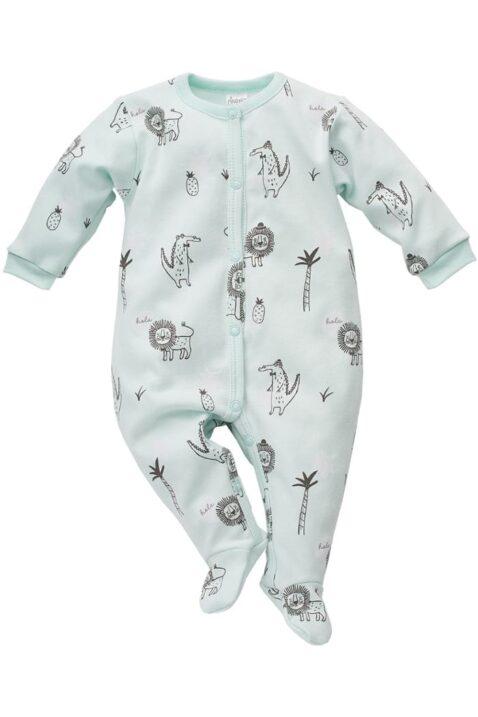 Mint grüner Baby Schlafoverall mit Füßen, Löwen, Ananas, Krokodile & Palmen Motiven für Jungen & Mädchen - Schlafanzug & Strampelanzug Overall einteilig von Pinokio - Vorderansicht