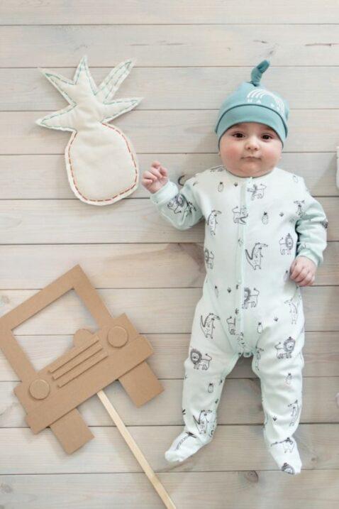 Set mint grüner Baby Schlafoverall mit Füßen + Mütze, Löwen, Ananas, Krokodile & Palmen Motiven für Jungen & Mädchen - Schlafanzug & Strampelanzug Overall einteilig von Pinokio - Babyphoto