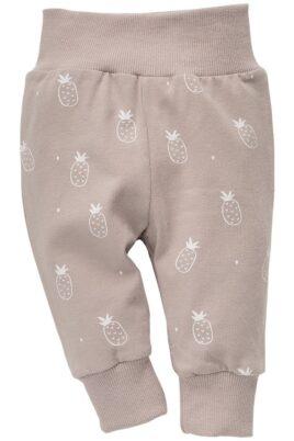 Pinokio beige Baby Leggings Sweathose mit Ananas Motiven für Jungen & Mädchen – Schlupfhose & Schlafhose mit Bündchen Komfortbund unisex – Vorderansicht