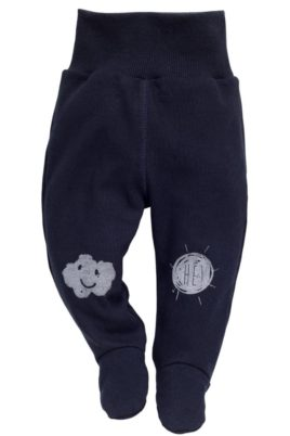 Pinokio dunkelblaue Baby Strampelhose mit Füßen & Wolken Motiv für Jungen – Schlafhose & Stramplerhose mit Füßchen Schlafstrampler – Vorderansicht