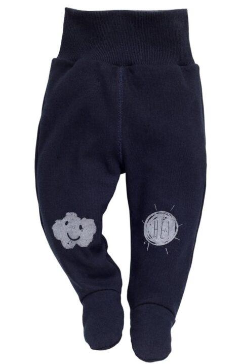 Dunkelblaue Baby Strampelhose mit Füßen & Wolken Motiv für Jungen - Schlafhose & Stramplerhose mit Füßchen Schlafstrampler von Pinokio - Vorderansicht