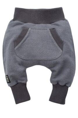 Pinokio graue Baby Pumphose Sweatpants mit Taschen für Jungen & Mädchen – Haremshose & Schlupfhose mit Taschen, Komfortbund Jogger Jogginghose Babyhose – Vorderansicht