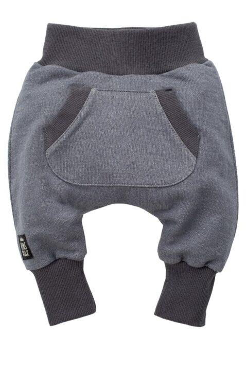 Graue Baby Pumphose Sweatpants mit Taschen für Jungen & Mädchen - Haremshose & Schlupfhose mit Taschen, Komfortbund Jogger Jogginghose Babyhose von Pinokio - Vorderansicht