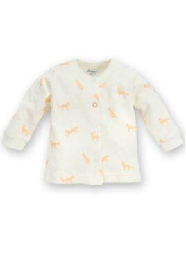 Pinokio weißer Baby Cardigan mit Fuchs Motive orange & Druckknöpfe für Jungen & Mädchen – Tier Babyjäckchen Pullover Sweatshirt Oberteil unisex – Vorderansicht